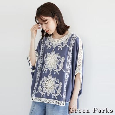 Green Parks 華麗刺繡x蕾絲拼接上衣