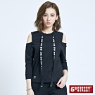 5th STREET 露肩造型織帶 長袖T恤-女-黑色