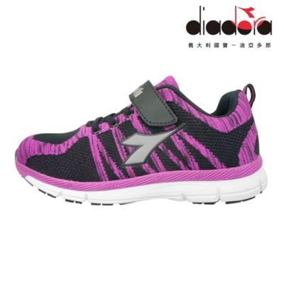 Diadora 兒童編織輕跑鞋 大童 加寬楦 黑桃 DA8AKR6382