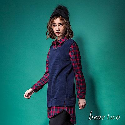 beartwo 經典格紋拼接假兩件式造型上衣(2色)