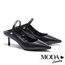 高跟鞋 MODA Luxury 簡約優雅晶鑽兩穿繫帶羊皮尖頭高跟鞋-黑