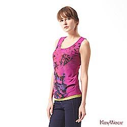 KeyWear奇威名品    經典百搭假兩件潑墨無袖背心-紫色