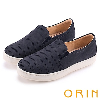 ORIN 引出度假氣氛 沖孔牛皮休閒平底便鞋-深藍