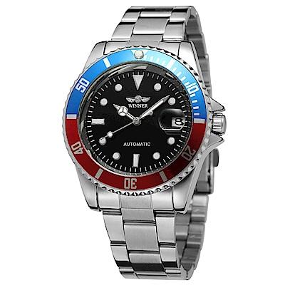 Mirabelle 至尊夜光 自動機械不鏽鋼男錶 銀帶紅藍框黑面43mm