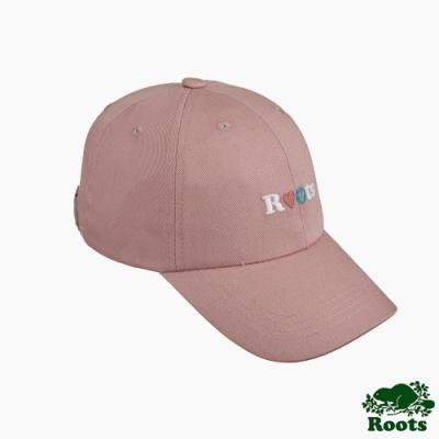 Roots配件-品牌文字刺繡棒球帽-粉色