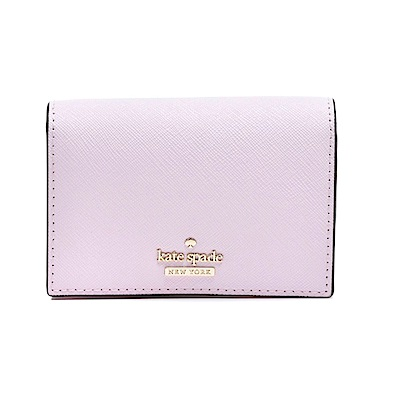 kate spade 防刮皮革扣式卡片夾/零錢包 粉紫色
