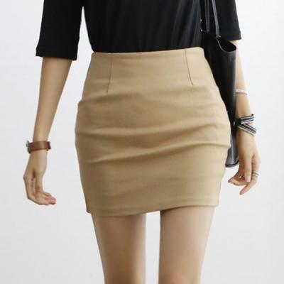 正韓 簡約大地色摺線包臀短裙 (共四色)-N.C21