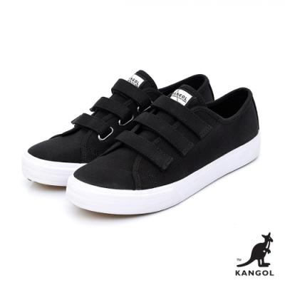 【KANGOL】魔鬼氈厚底帆布鞋-女-黑