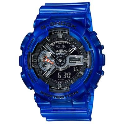 CASIO 卡西歐G-SHOCK大海藍色透明電子錶(GA-110CR-2A)