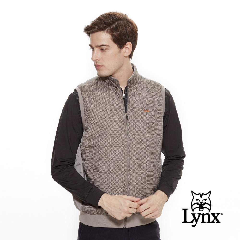 【Lynx Golf】男款防風保暖幾何圖形無袖背心-灰卡其色