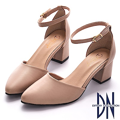 DN 微甜浪漫 知性經典尖頭瑪莉珍跟鞋-卡其