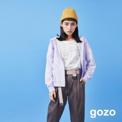 gozo 滿版號誌印花抽繩連帽外套(二色)