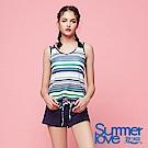 夏之戀SUMMER LOVE 大女條紋連身褲二件式泳衣