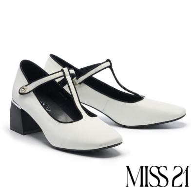 高跟鞋 MISS 21 復古時髦水鑽T字帶瑪麗珍高跟鞋-白