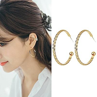 梨花HaNA 耳針/耳夾選韓國編織金屬美人漾圈圈耳環