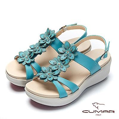 【CUMAR】普羅旺斯莊園-雷射花朵小鑽飾厚底涼鞋-藍