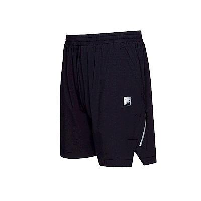 FILA 男款抗UV平織短褲-黑色 1SHT-1312-BK