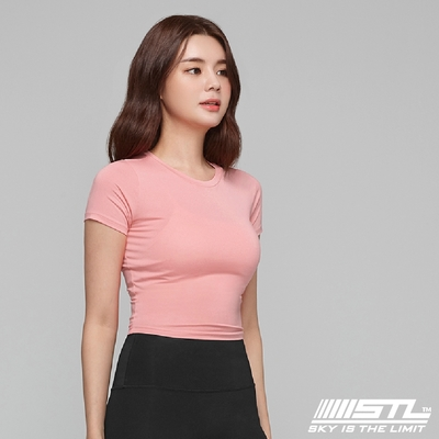 STL yoga 韓國瑜珈 ESSENCE Line Up 本質短版合身(有肩線)運動機能短袖圓領上衣 珊瑚粉LovelyDay