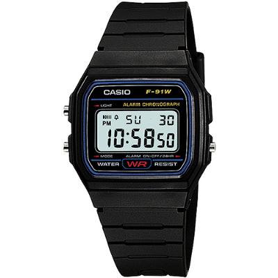 CASIO 復古潮流魅力電子錶-藍框(F-91W-1)/28.5mm