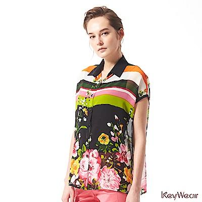KeyWear奇威名品    MIT日式繽紛印花典雅雪紡垂袖襯衫-綜合色