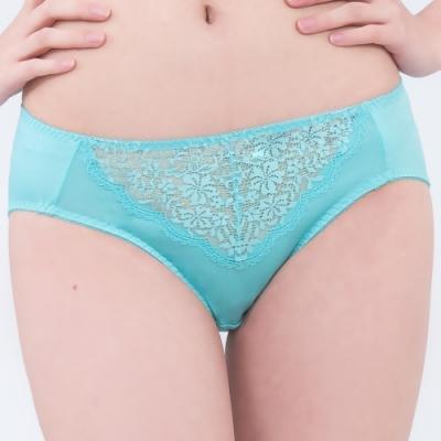 思薇爾 深V誘惑系列M-XXL蕾絲中腰三角內褲(暈藍色)