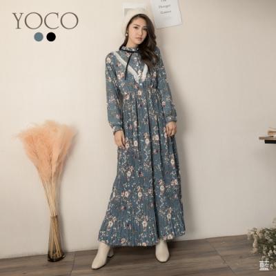 東京著衣-YOCO 詩意碎花V型百褶造型領結縮腰長洋裝(共二色)