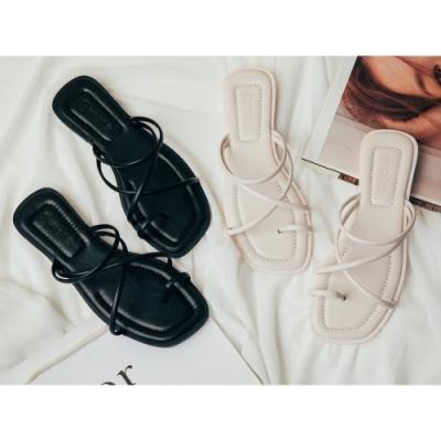 River&Moon拖鞋 極簡交叉細線方頭平底涼拖 米白