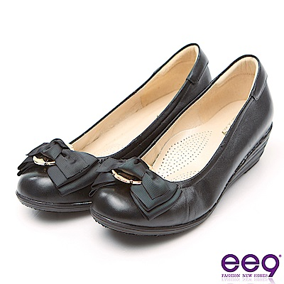 ee9 MIT經典手工名媛專屬柔軟舒適楔型跟鞋 黑色