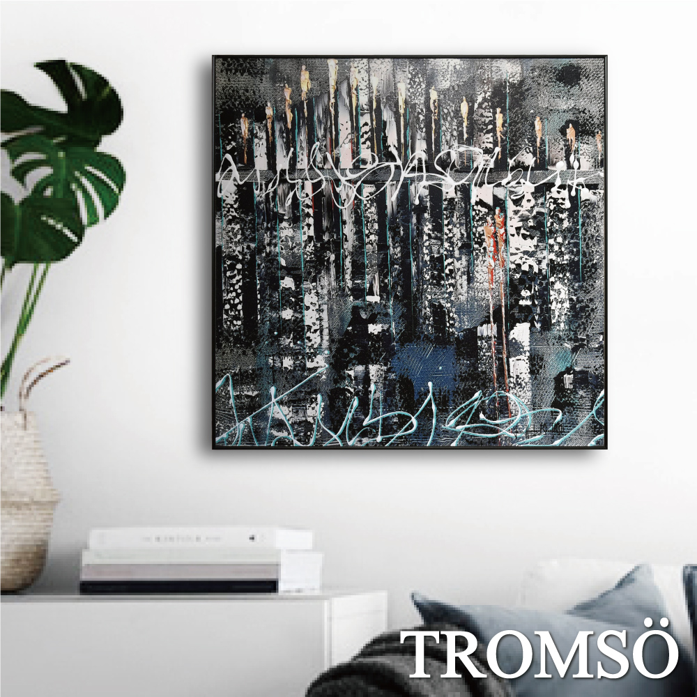 TROMSO 北歐生活版畫有框畫-藍繪城市A WA82
