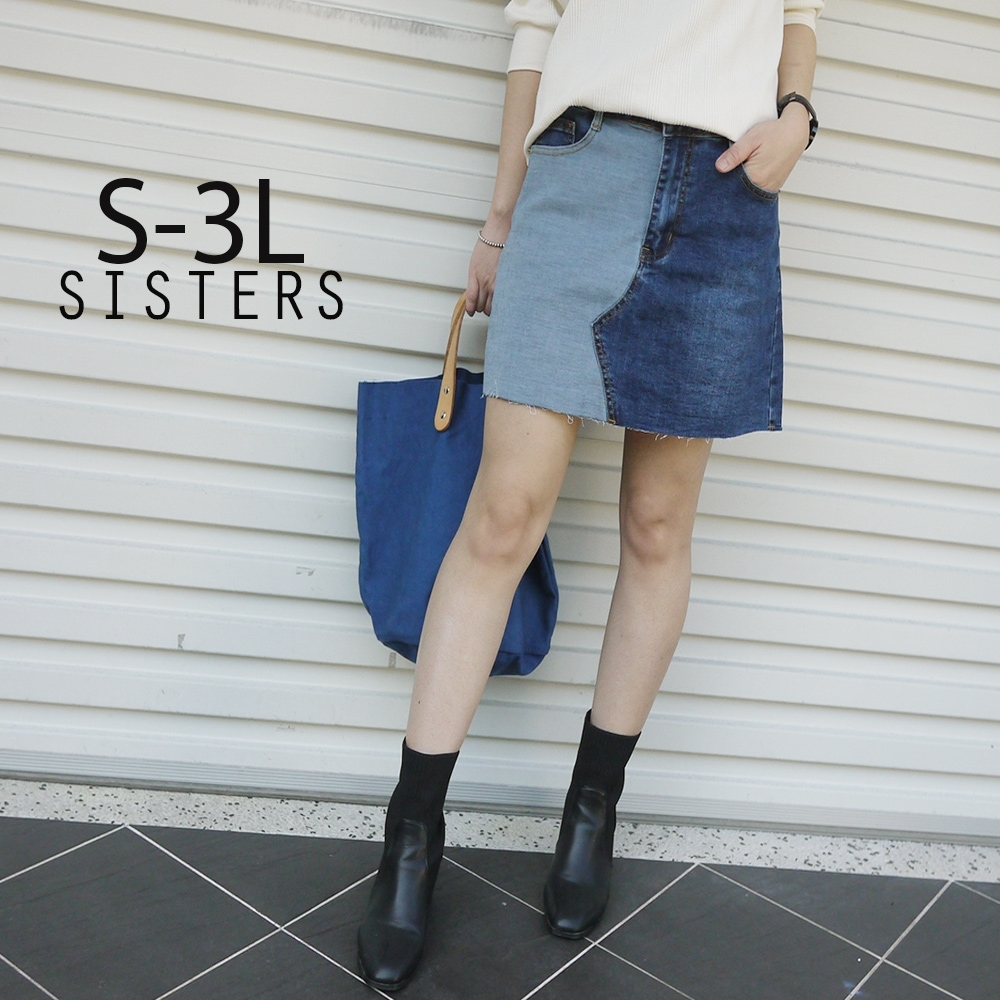 SISTERS 時尚歐膩拚色牛仔褲裙 短裙/S-3L