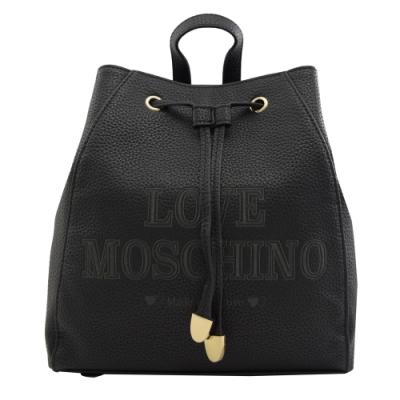 MOSCHINO LOVE系列電繡LOGO牛皮水桶後背包(黑)