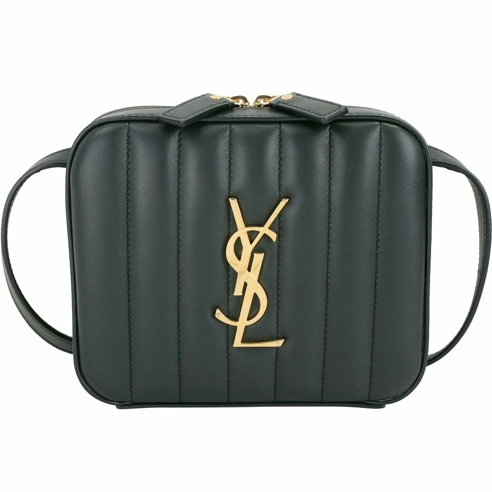 YSL Saint Laurent VICKY 衍縫小羊皮方型胸肩背/腰包(深綠色)