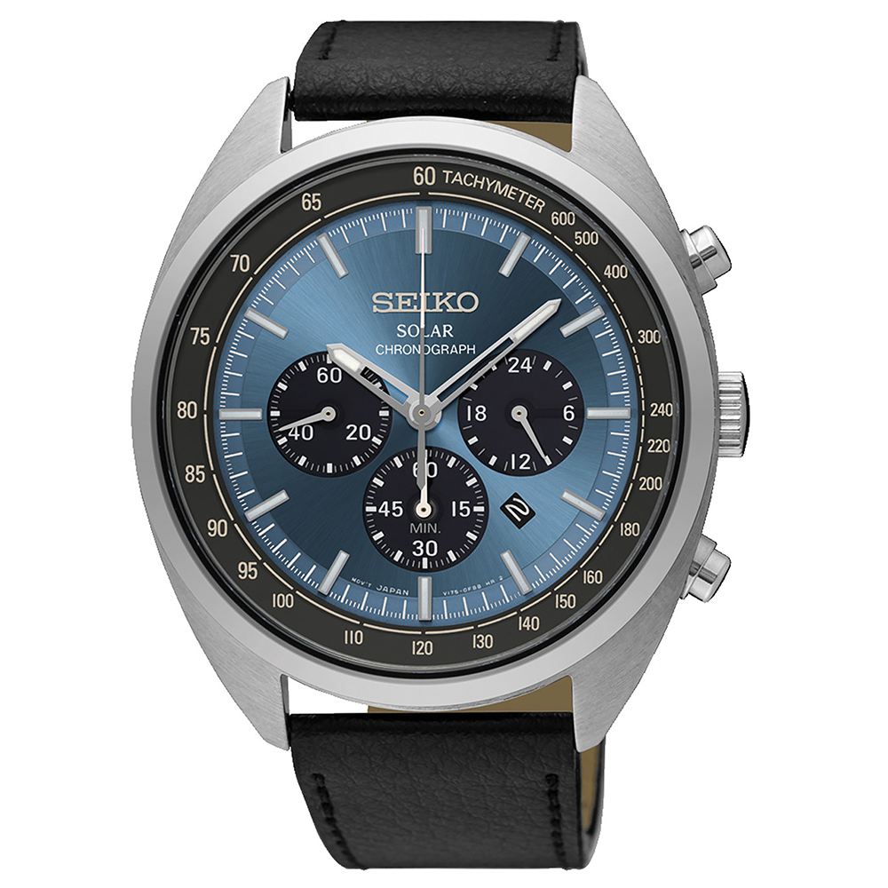 SEIKO 個性魅力視距儀三眼太陽能石英腕錶(SSC625P1)藍-/45mm