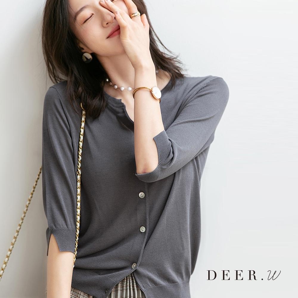 DEER.W 開衩五分袖排釦針織外套(灰)