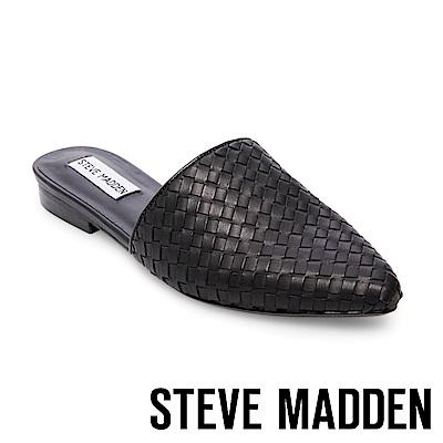 STEVE MADDEN-TIMID尖頭低跟真皮編織穆勒鞋-黑色