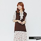 H:CONNECT 韓國品牌 女裝-兩件式小花綁帶洋裝-卡其