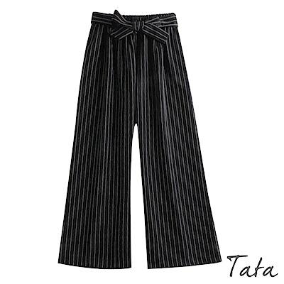 條紋綁帶九分寬褲 TATA