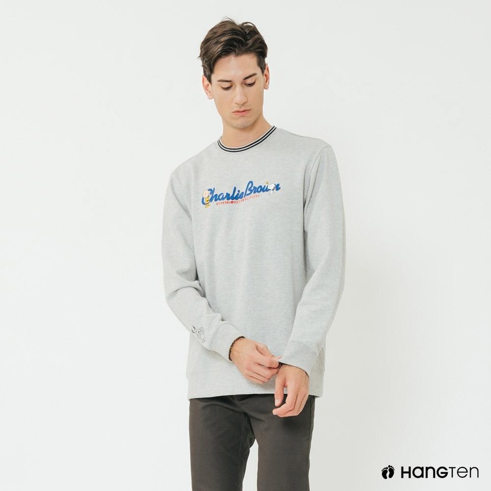 Hang Ten-男裝-Charlie Brown-簡約印花長袖上衣-灰