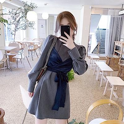 DABI 韓系氣質高冷御姐風收腰顯瘦高端氣質長袖洋裝