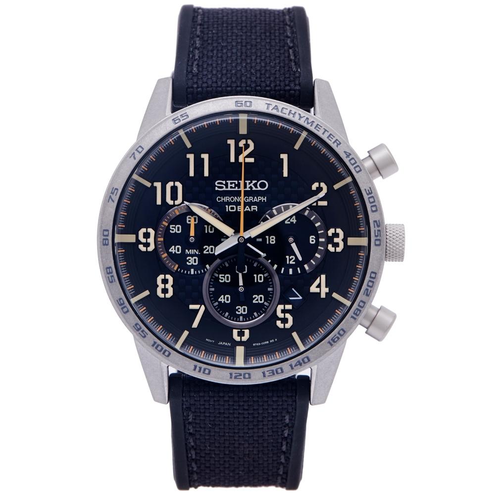 SEIKO 時尚三眼計時橡膠與帆布帶材質錶帶手錶(SSB367P1)-黑色面/44mm