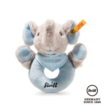 STEIFF德國金耳釦泰迪熊 藍色大象  Trampili Elephant Grip Toy with Rattle (嬰幼兒手搖鈴)