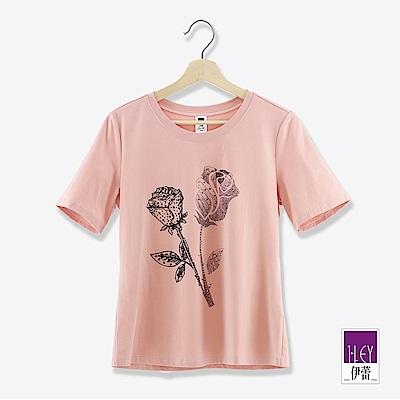 ILEY伊蕾 浪漫燙鑽玫瑰棉質上衣(粉/綠)