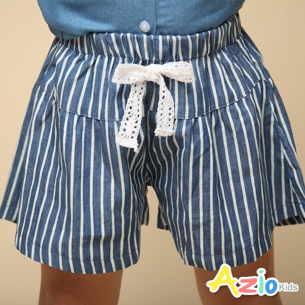 Azio 女童 褲裙 蕾絲蝴蝶結條紋牛仔褲裙(條紋藍)