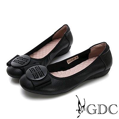GDC-真皮摩砂釦蝴蝶結基本素面款平底鞋-黑色