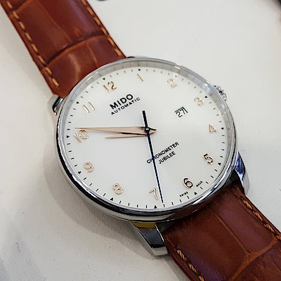 MIDO美度 Baroncelli 永恆系列天文台認證機械錶-棕皮帶/42mm