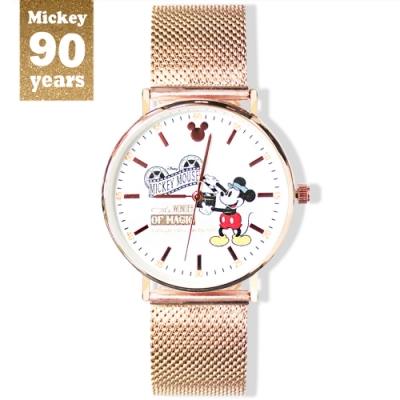 DISNEY迪士尼90周年紀念系列手錶-導演米奇38mm玫瑰金米蘭帶