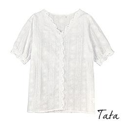 圖騰花刺繡鏤空上衣 共二色 TATA