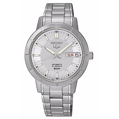 SEIKO精工 氣質淑女夜光5號自動上鍊機械腕錶(SNK899K1)-白/34mm
