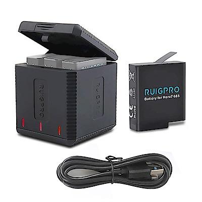 RUIGPRO 三充電池充電盒+充電電池 for GoPro HERO 7/6/5