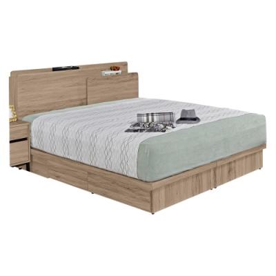 文創集 納多德5尺床台(USB插座+床頭片+四抽床底+無床墊)-152x206x98免組
